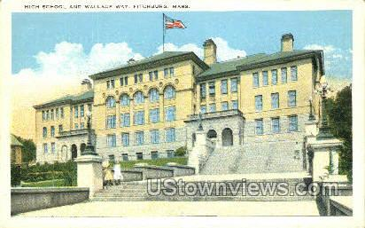 High School & Wallace Way - Fitchburg, Massachusetts MA Postcard