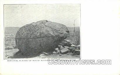 Boulder, Summit of Mt Rollstone - Fitchburg, Massachusetts MA Postcard