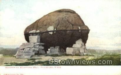 Boulder on Rollstone Hill - Fitchburg, Massachusetts MA Postcard