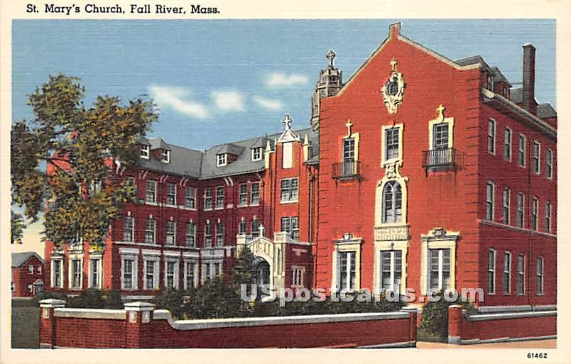 St Mary's Church - Fall River, Massachusetts MA Postcard