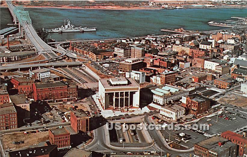 City Hall builtover Route 195 - Fall River, Massachusetts MA Postcard