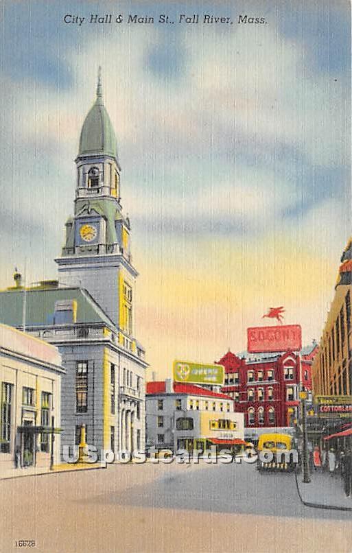 City Hall & Main Street - Fall River, Massachusetts MA Postcard