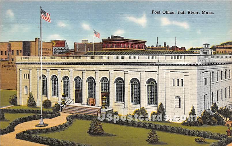 Post Office - Fall River, Massachusetts MA Postcard