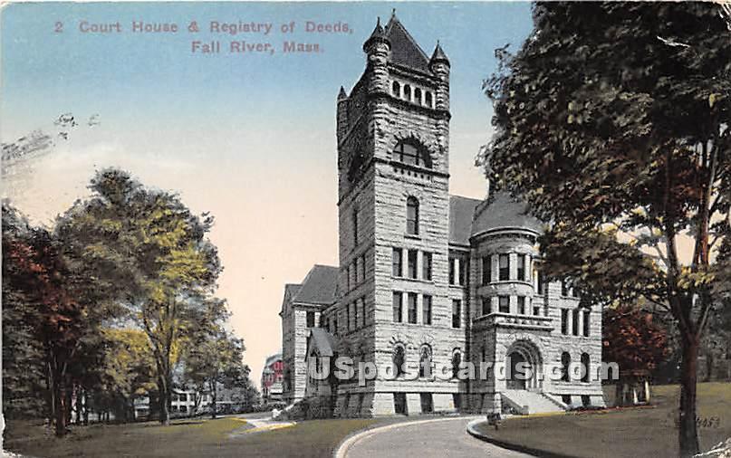 Court House & Registry of Deeds - Fall River, Massachusetts MA Postcard