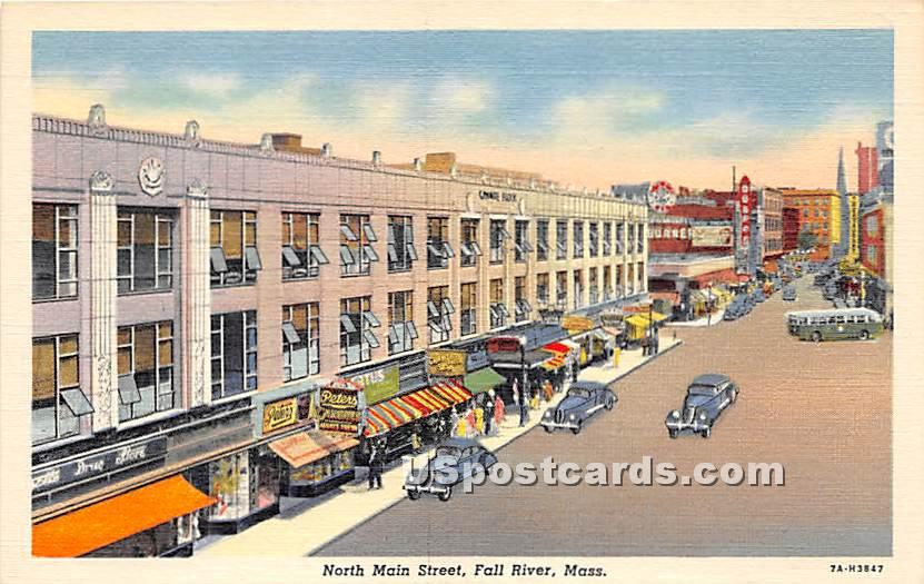 North Main Street - Fall River, Massachusetts MA Postcard