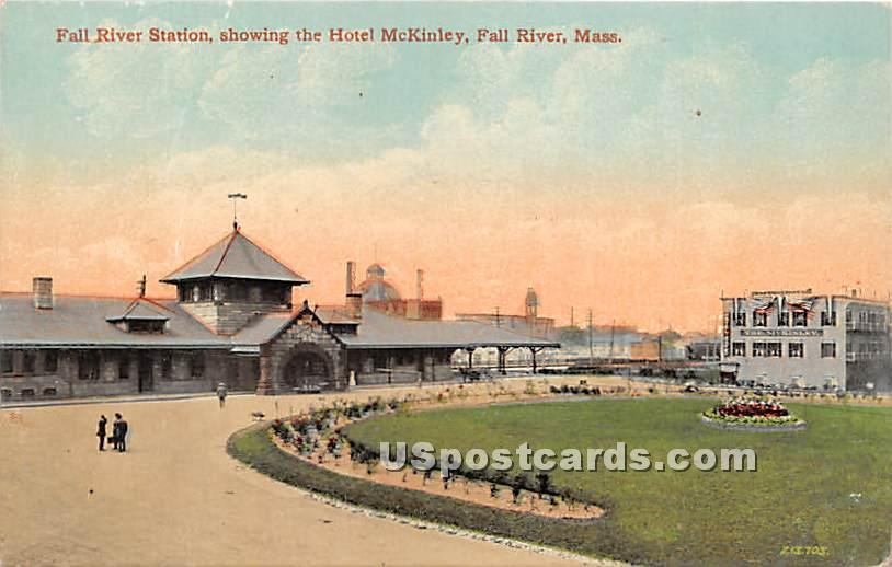 Fall River Station showing the Hotel McKinley - Massachusetts MA Postcard