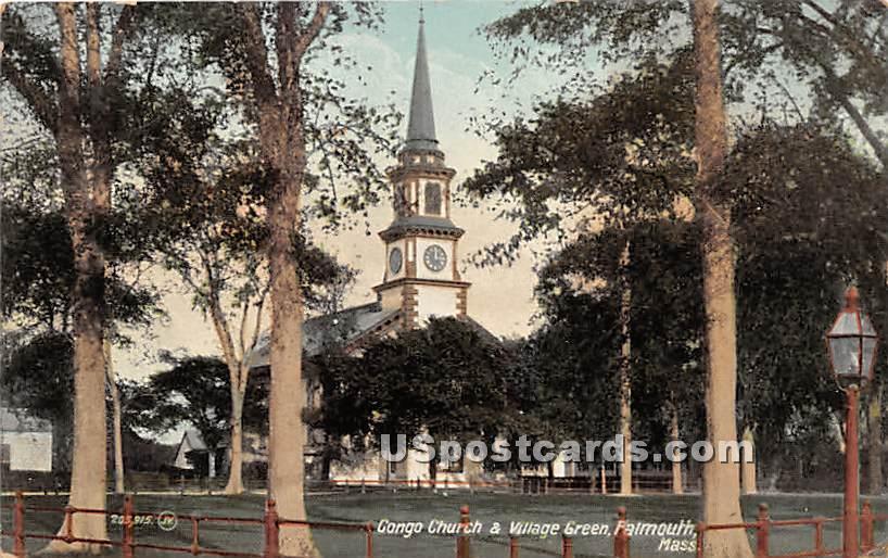 Congo Church & Village Green - Falmouth, Massachusetts MA Postcard
