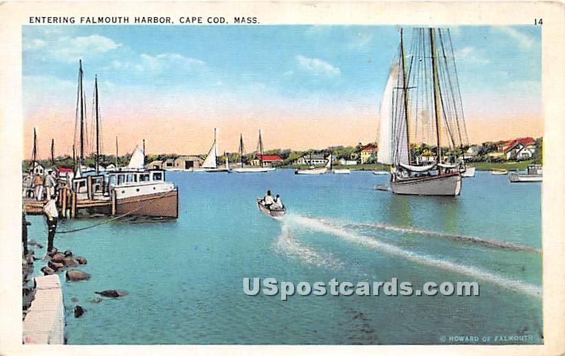 Entering Harbor - Falmouth, Massachusetts MA Postcard