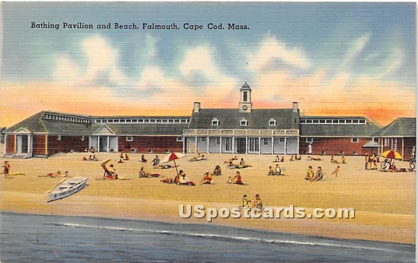 Bathing Pavilion & Beach - Falmouth, Massachusetts MA Postcard