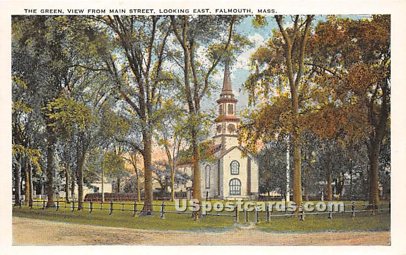 The Green, View from Main Street Looking East - Falmouth, Massachusetts MA Postcard
