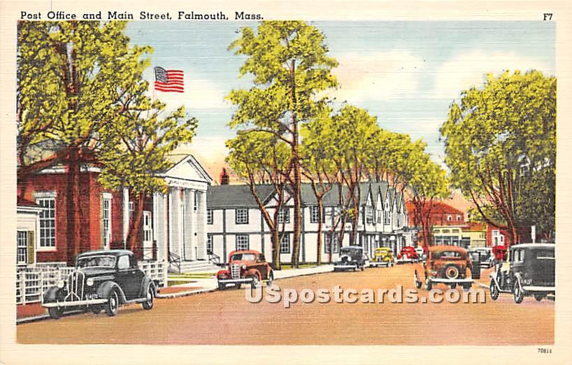 Post Office & Main Street - Falmouth, Massachusetts MA Postcard