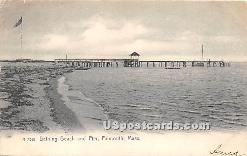 Bathing Beach & Pier - Falmouth, Massachusetts MA Postcard