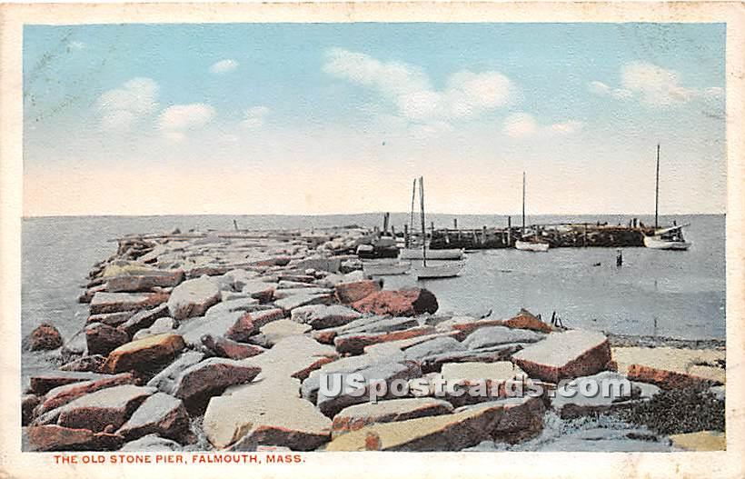 The Old Stone Pier - Falmouth, Massachusetts MA Postcard