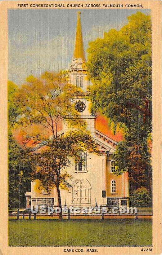 First Congregational Church - Falmouth, Massachusetts MA Postcard