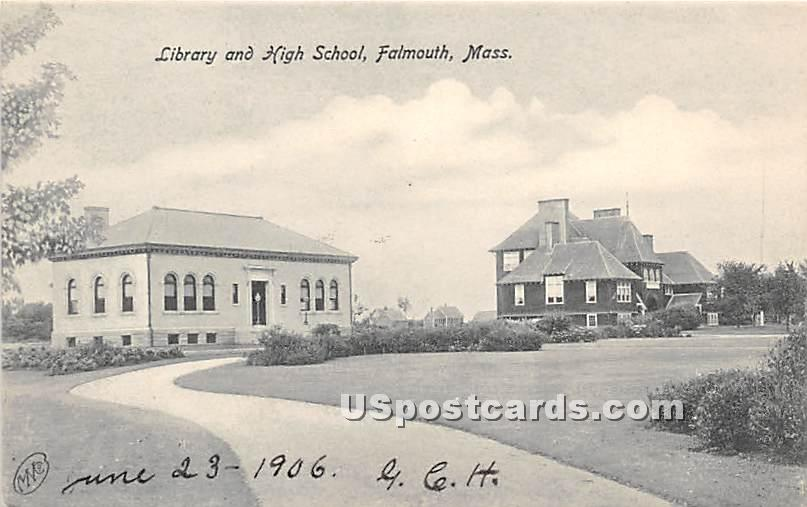 Library & High School - Falmouth, Massachusetts MA Postcard