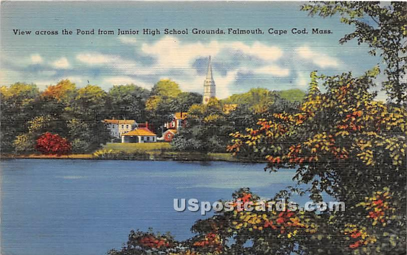 View across the Pond from Junioir High School Grounds - Falmouth, Massachusetts MA Postcard