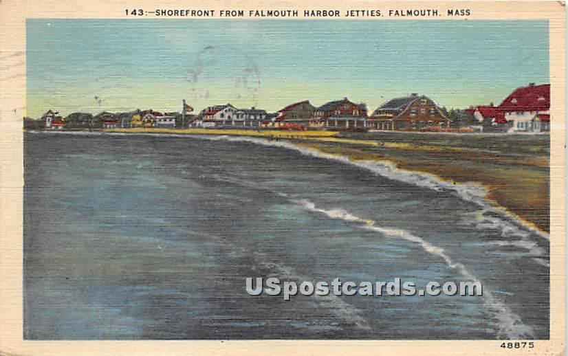 Shorefront from Falmouth Harbor Jetties - Massachusetts MA Postcard