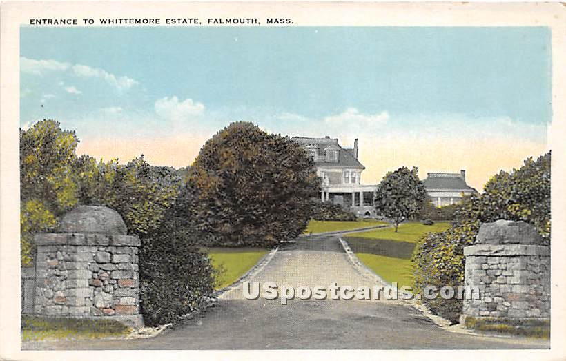 Entrance to Whittemore Estate - Falmouth, Massachusetts MA Postcard