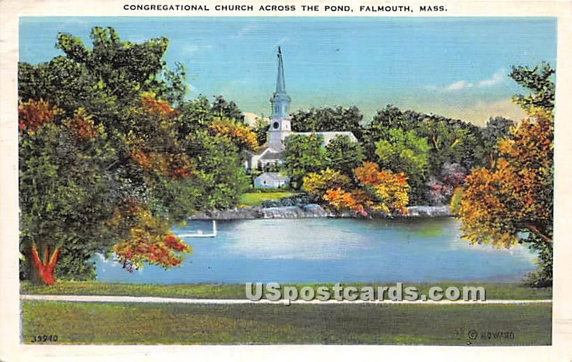 Congregational Church across the Pond - Falmouth, Massachusetts MA Postcard