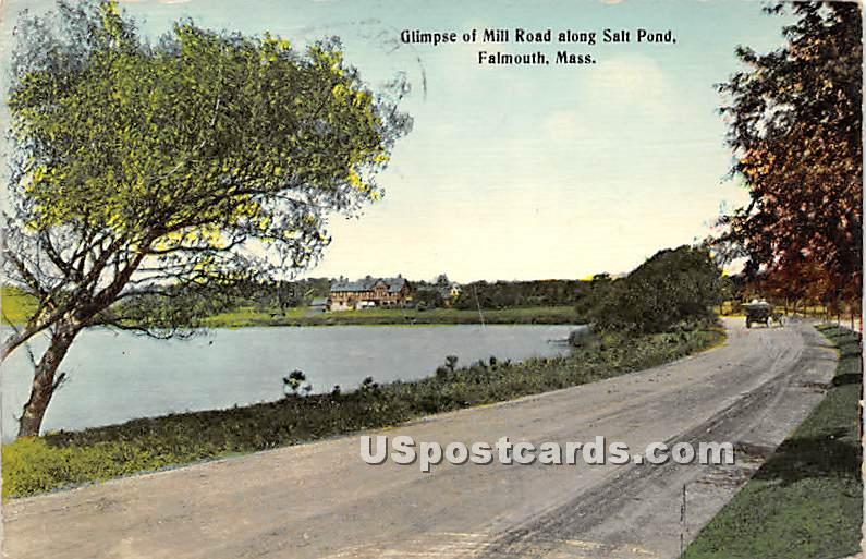 Glimpse of Mill Road along Salt Pond - Falmouth, Massachusetts MA Postcard