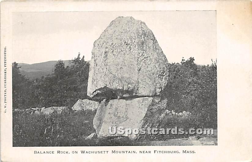 Balance Rock on Wachusett Mountain - Fitchburg, Massachusetts MA Postcard