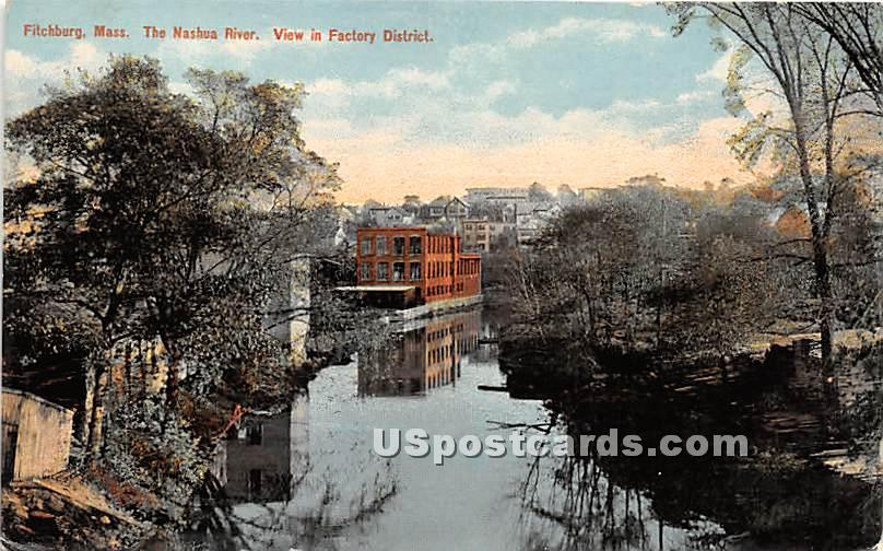 The Nashua River view in Factory District - Fitchburg, Massachusetts MA Postcard