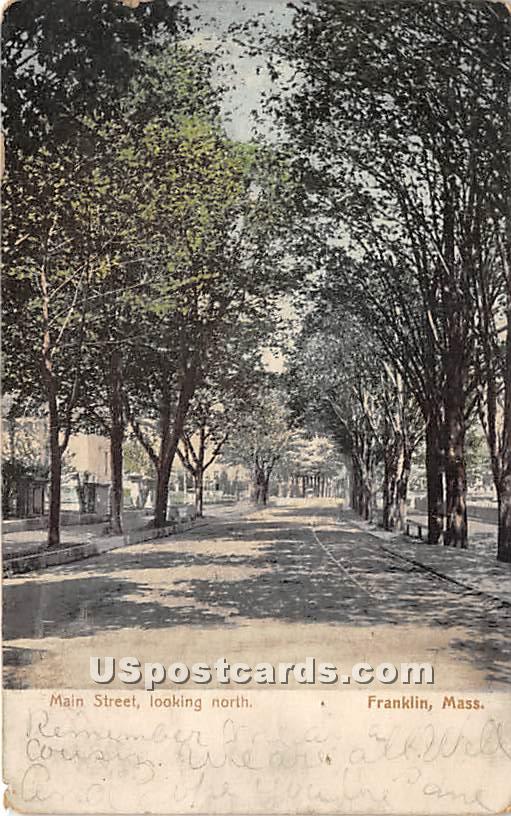 Main Street looking North - Franklin, Massachusetts MA Postcard