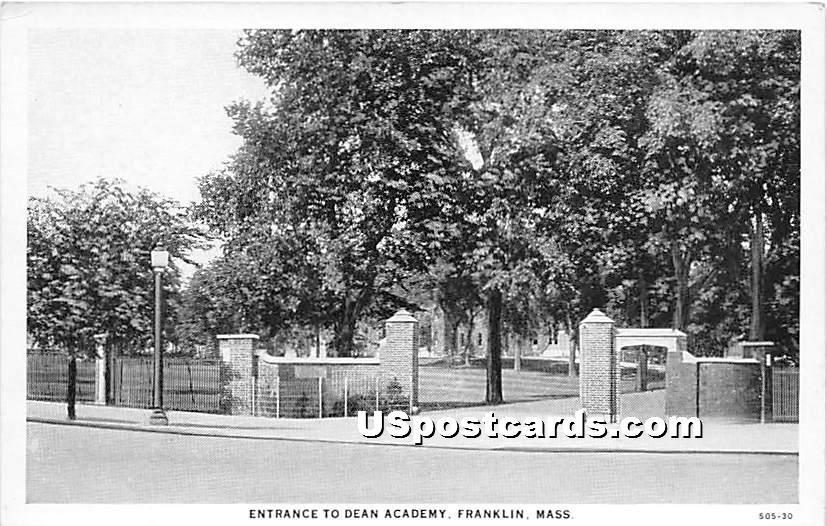 Entrance to Dean Academy - Franklin, Massachusetts MA Postcard