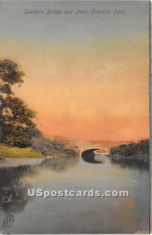 Scarboro Bridge & Pond - Franklin, Massachusetts MA Postcard