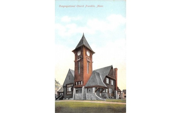 Congregational Church Franklin, Massachusetts Postcard