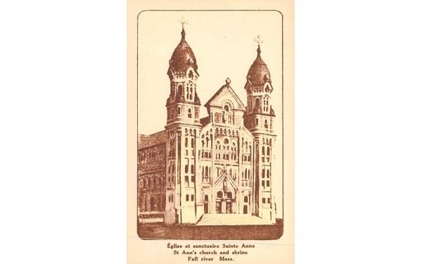 St. Ann's church & shrine Fall River, Massachusetts Postcard