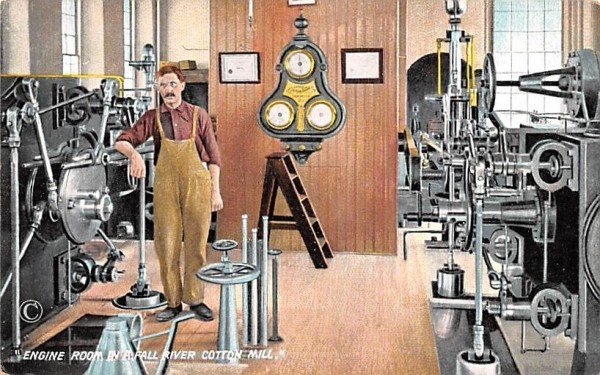 Engine Room Fall River, Massachusetts Postcard