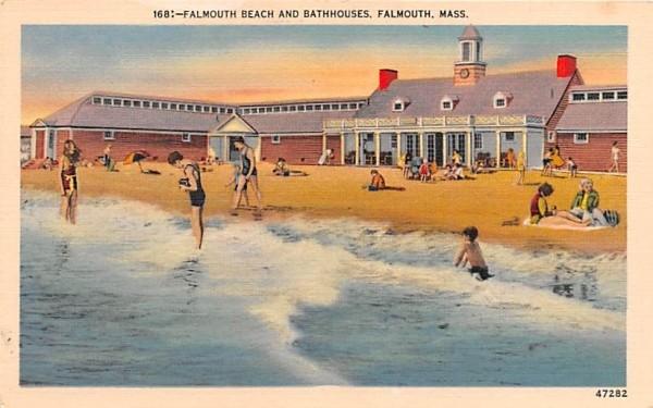 Falmouth Beach & Bathhouses Massachusetts Postcard