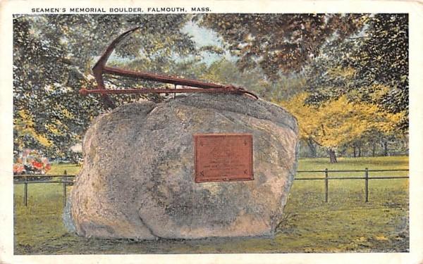 Seamen's Memorial Boulder Falmouth, Massachusetts Postcard