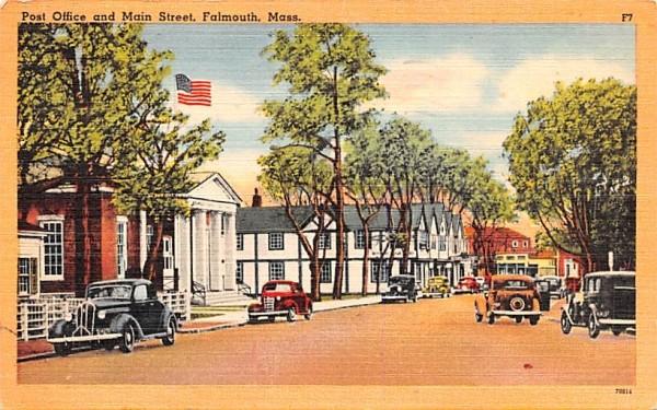 Post Office & Main Street Falmouth, Massachusetts Postcard