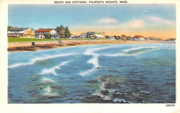 Beach & Cottages Falmouth, Massachusetts Postcard