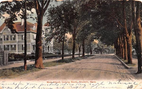 Main Street Franklin, Massachusetts Postcard
