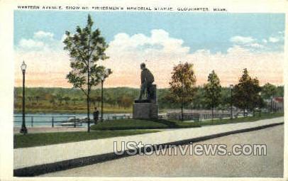 Western Ave, Fishermen's Memorial Statue - Gloucester, Massachusetts MA Postcard