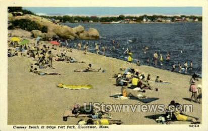 Cressey Beach, Stage Fort Park - Gloucester, Massachusetts MA Postcard