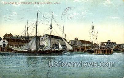 Schooners & Wharves - Gloucester, Massachusetts MA Postcard