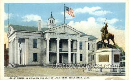 Legion Memorial Bldg, Joan of Arc Statue - Gloucester, Massachusetts MA Postcard