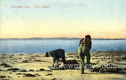 Clam Diggers - Gloucester, Massachusetts MA Postcard