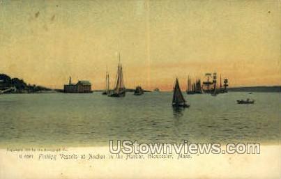 Fishing Vessels, Anchor, Harbor - Gloucester, Massachusetts MA Postcard