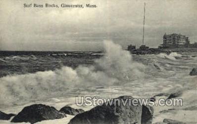 Surf Bass Rocks - Gloucester, Massachusetts MA Postcard