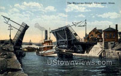 Blynman Bridge - Gloucester, Massachusetts MA Postcard