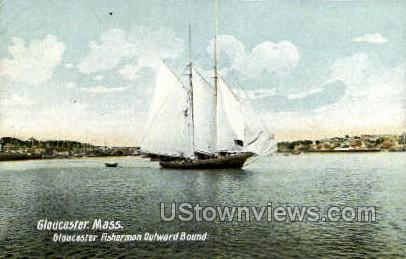 Gloucester Fisherman Outward Bound - Massachusetts MA Postcard