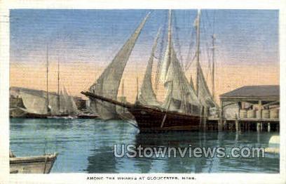 Wharfs - Gloucester, Massachusetts MA Postcard