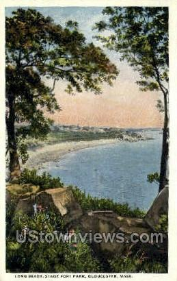 Long Beach, Stage Fort Park - Gloucester, Massachusetts MA Postcard
