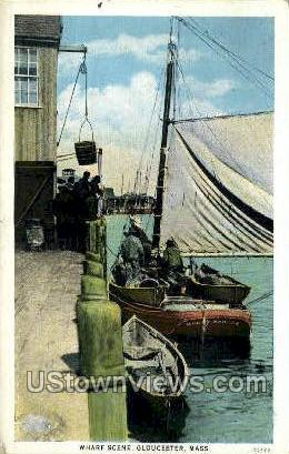 Wharf - Gloucester, Massachusetts MA Postcard
