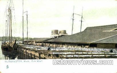 Fish Wharf - Gloucester, Massachusetts MA Postcard